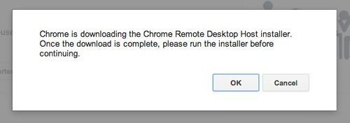 Downloading chrome Remote Desktop Host