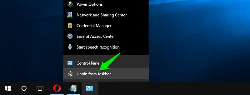 unpin from taskbar