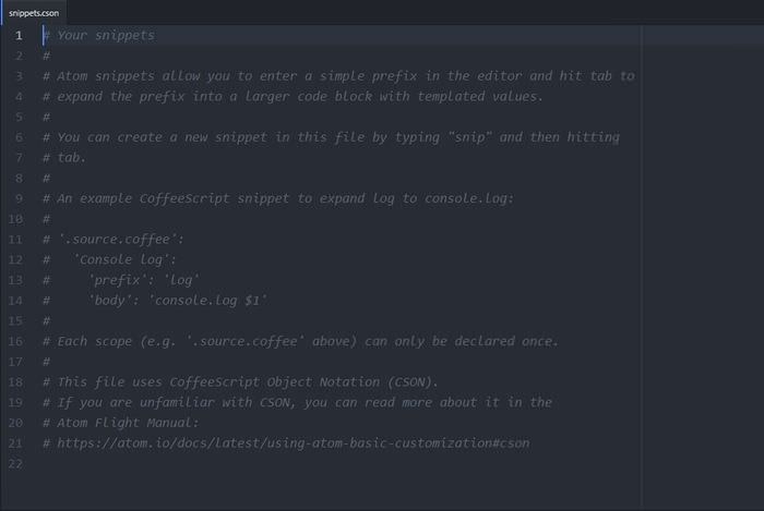 Snippets Configuration File