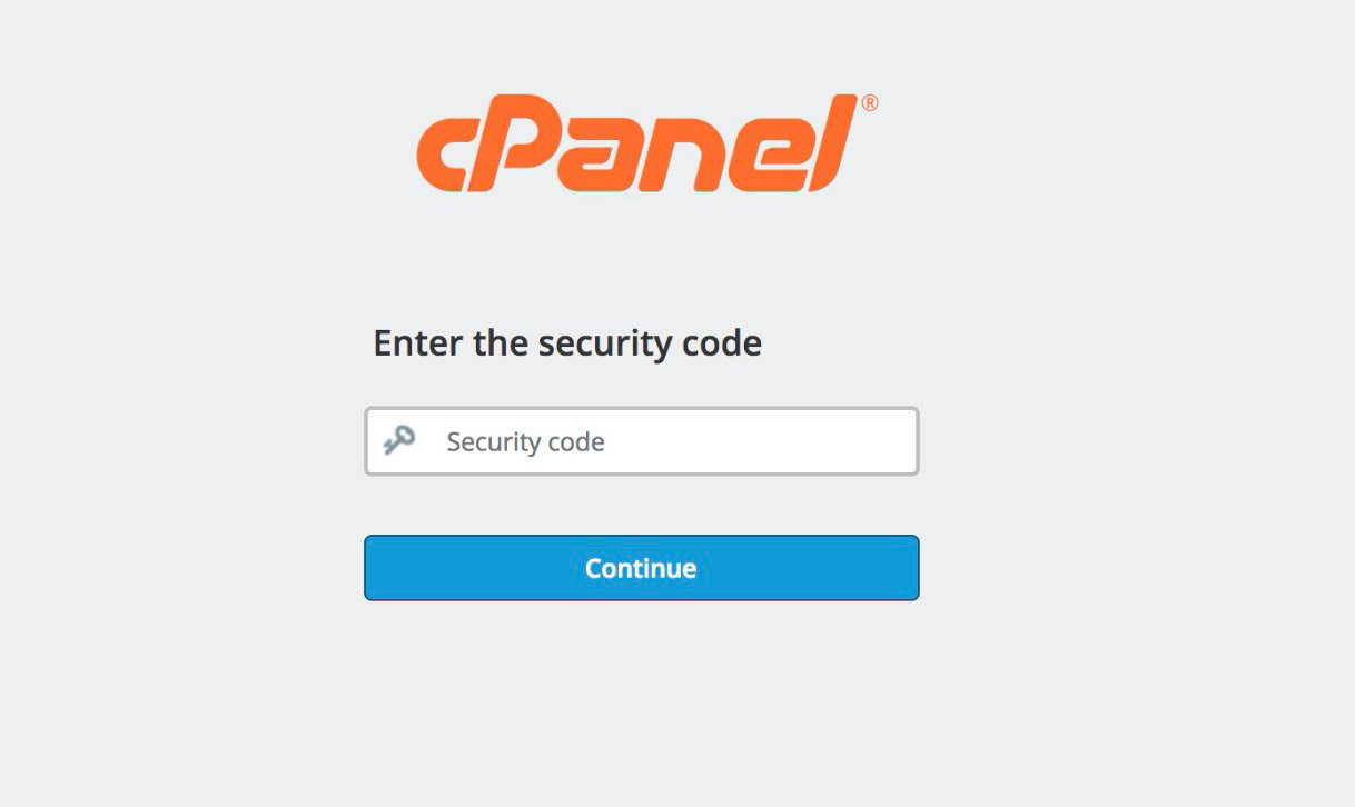 cpanel security code