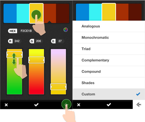 Apart from taking color schemes from a picture, this app also allows you to  create a color scheme from the color wheel  just like in the Web app.