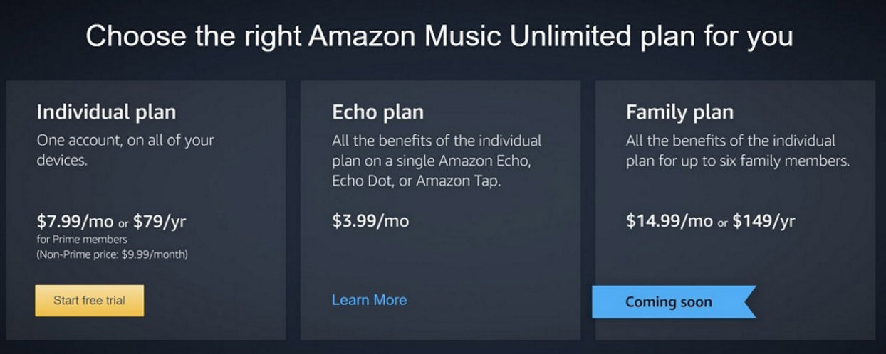 amazon music unlimited price