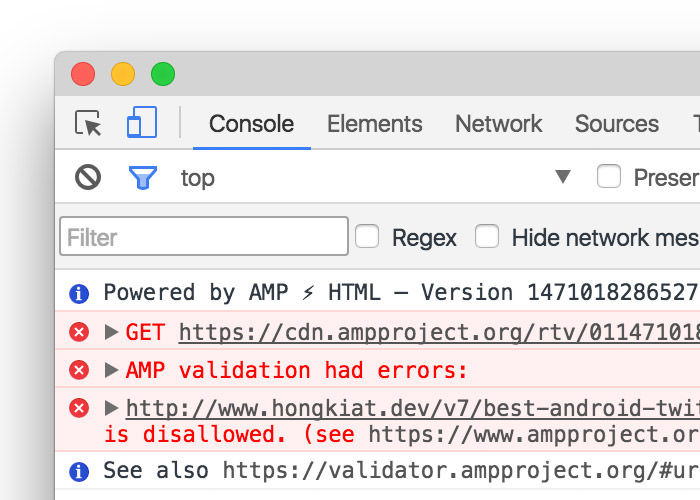 Console interface with AMP error reports