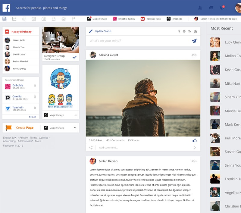magic voltage facebook redesign