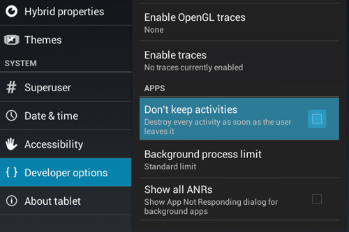 Don't Keep App Activities