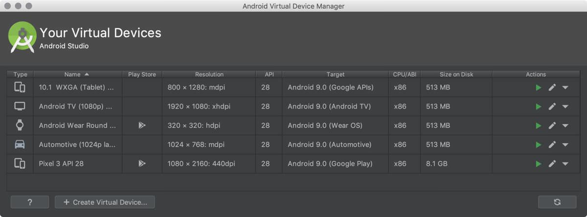 Android Studio offers virtual devices