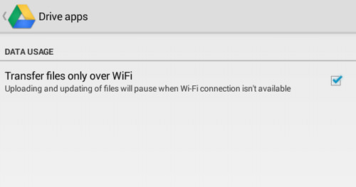 Enable Transfer Files Only Over WiFi For Google Drive