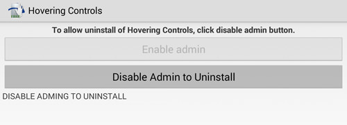 Disable Admin To Uninstall