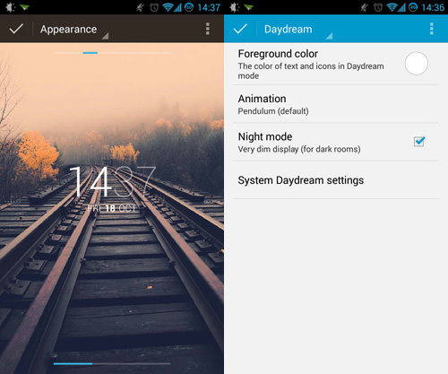 DashClock Appearance And Daydream Settings