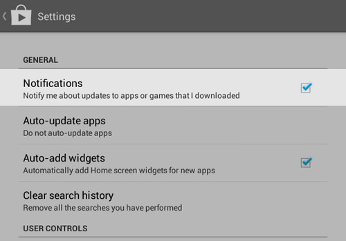 Disable Notifications about updates to apps or games