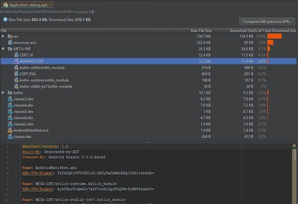Android Studio 3.0 includes improved APK Analyzer