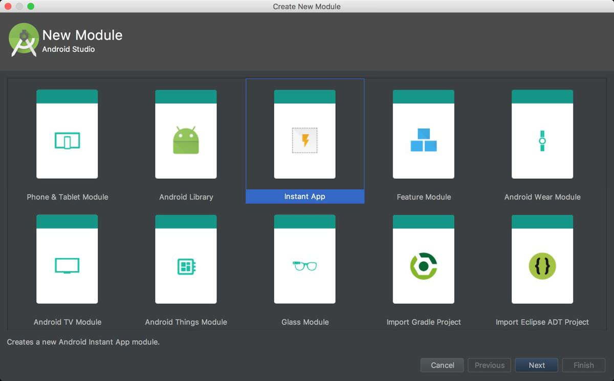 Android Studio 3.0 supports Instant Apps
