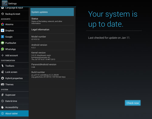 Check For android System updates
