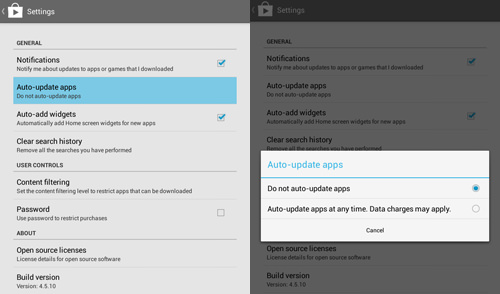 Disable automatic Apps Updates