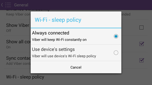 Change WiFi Sleep Policy