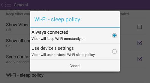 Change WiFi Sleep Policy
