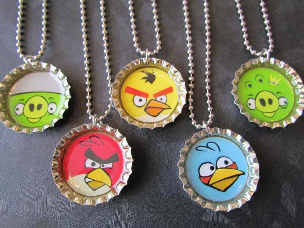 angry birds bottle cap necklace 1