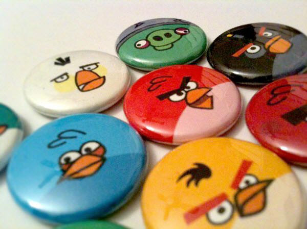 angry birds pinback button set