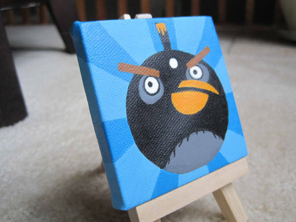 miniature black bird painting