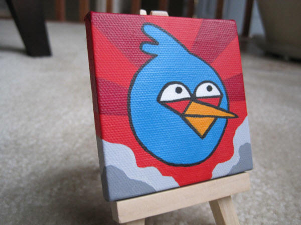 miniature blue bird painting