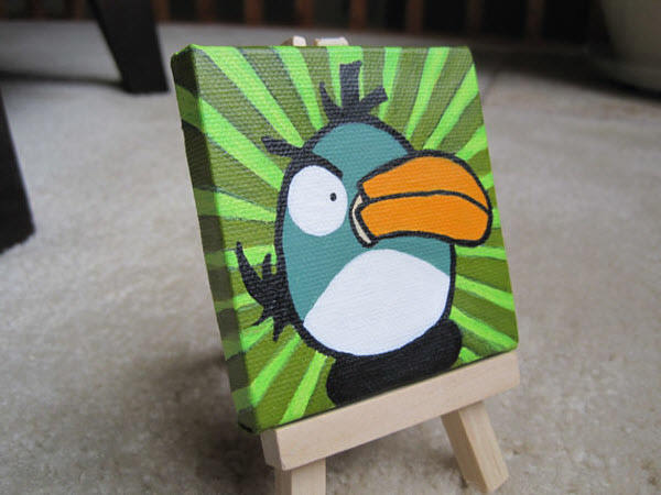 miniature green bird painting