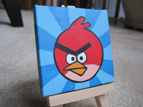 miniature red bird painting