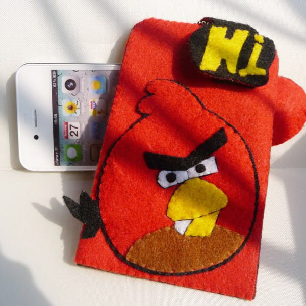 red bird cloth felt case