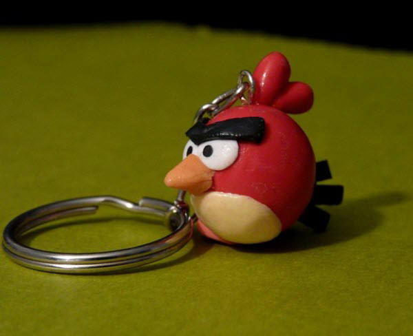 red bird keychain
