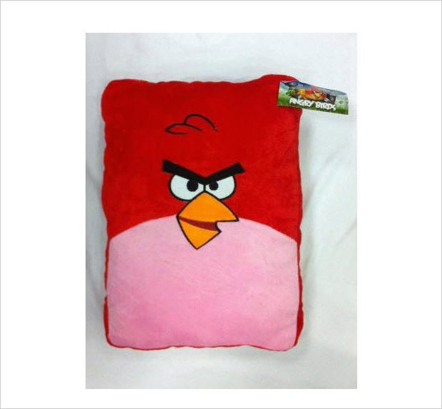 red bird plush pillow