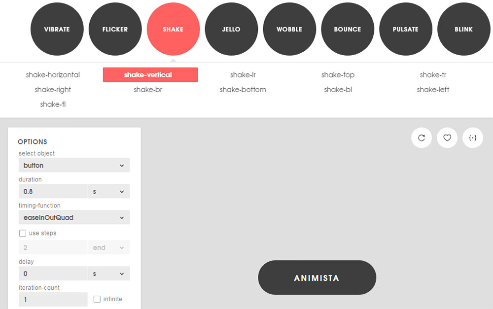 Animista animation web app