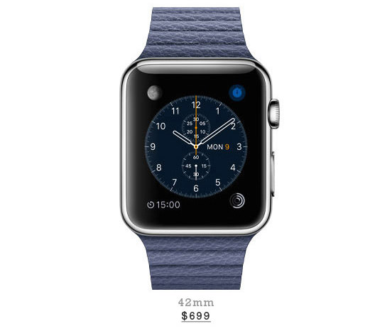 Stainless Steel Case With Bright Blue Leather Loop