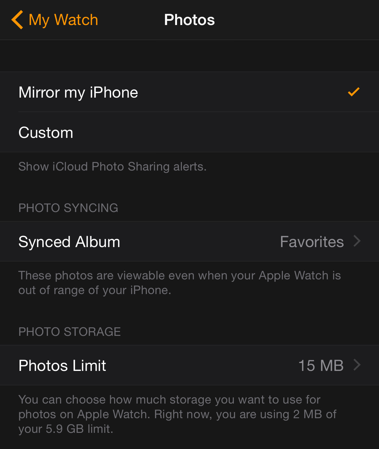 sync photos to apple watch