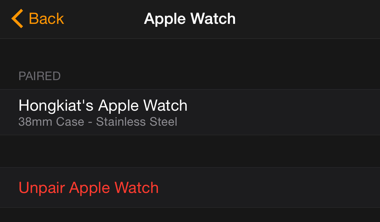 unparing on apple watch app