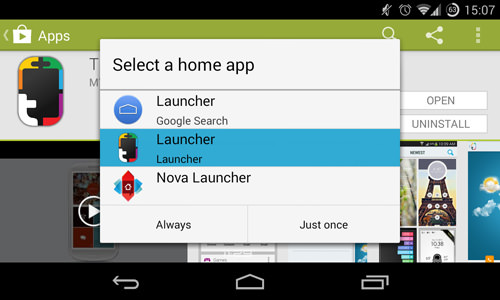 Selecting Themer As Default Launcher