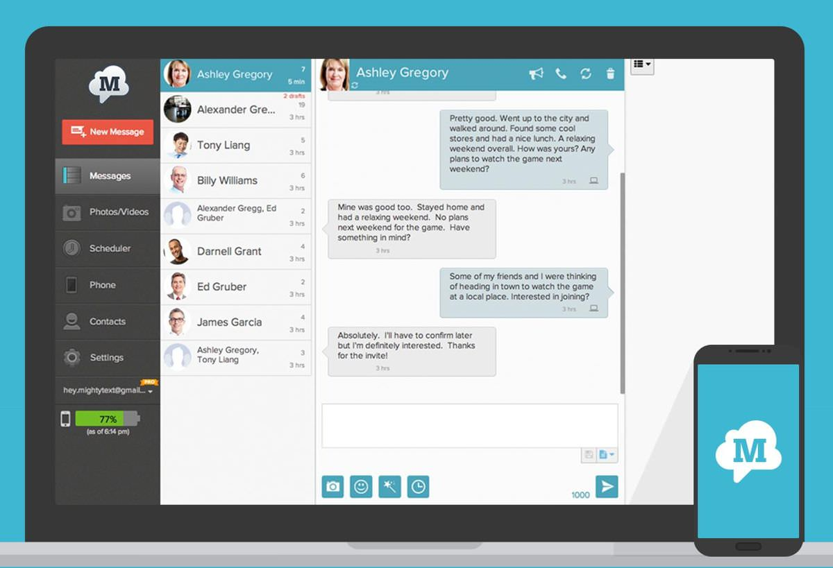 MightyText for sharing conversations across devices