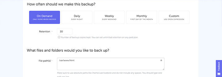backup website screenshots