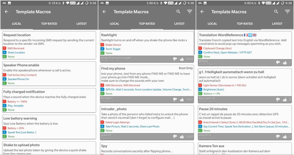 Macro templates in MacroDroid