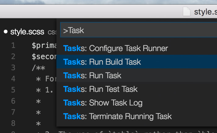 'Run Build Task' menu in the Command Palette