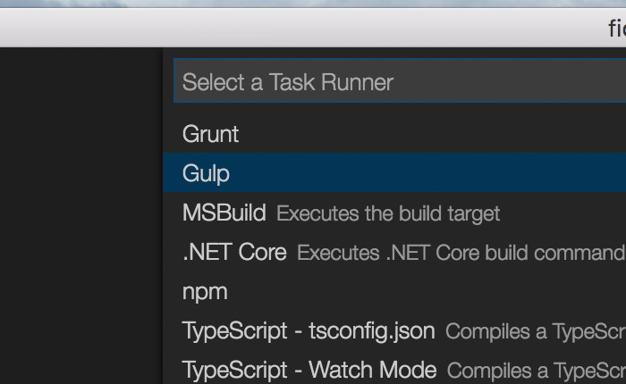 Gulp menu in Visual Studio Code configuration.