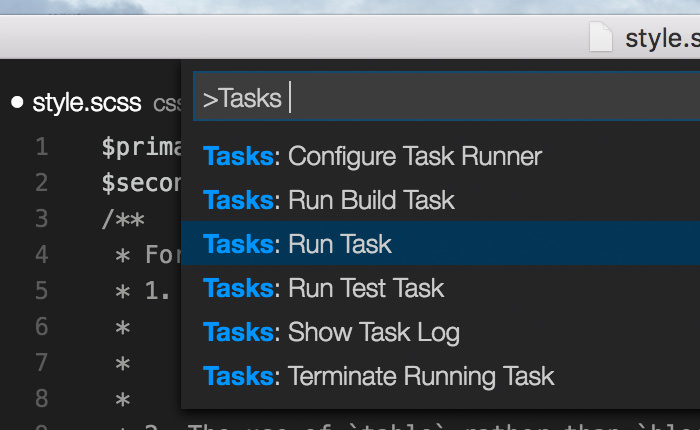 Lists of 'Tasks' in Visual Studio Code Command Palette.