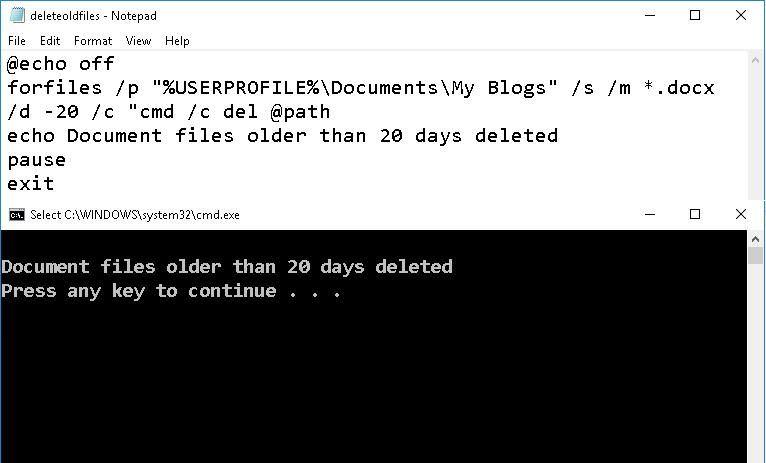 Delete old files using batch script