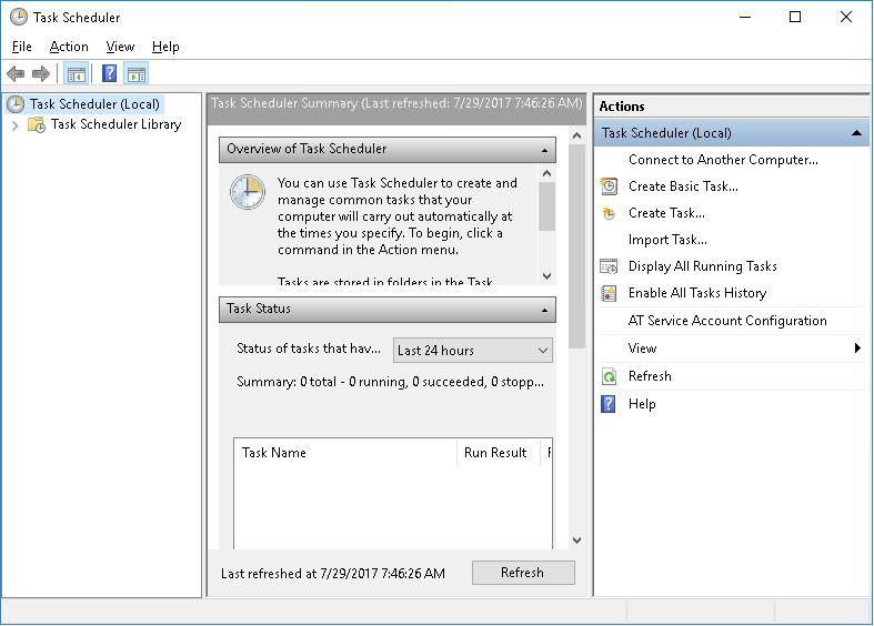 Task Scheduler in Windows 10