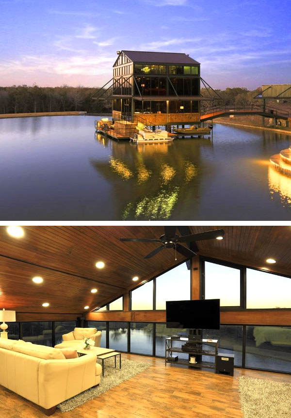 glass house floating on a lake