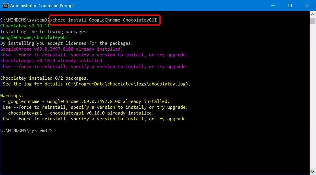 Install multiple packages using Chocolatey