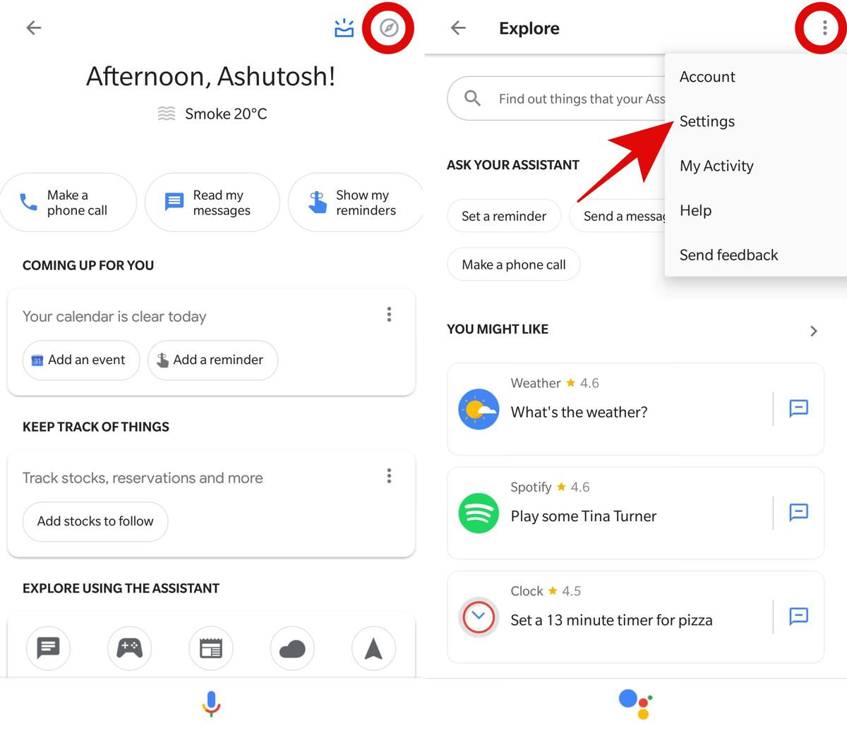 Access the settings of Google Assistant