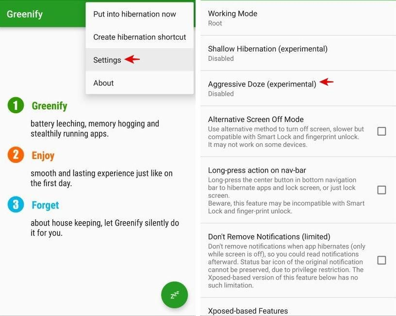 Configure Greenify's doze options in Android