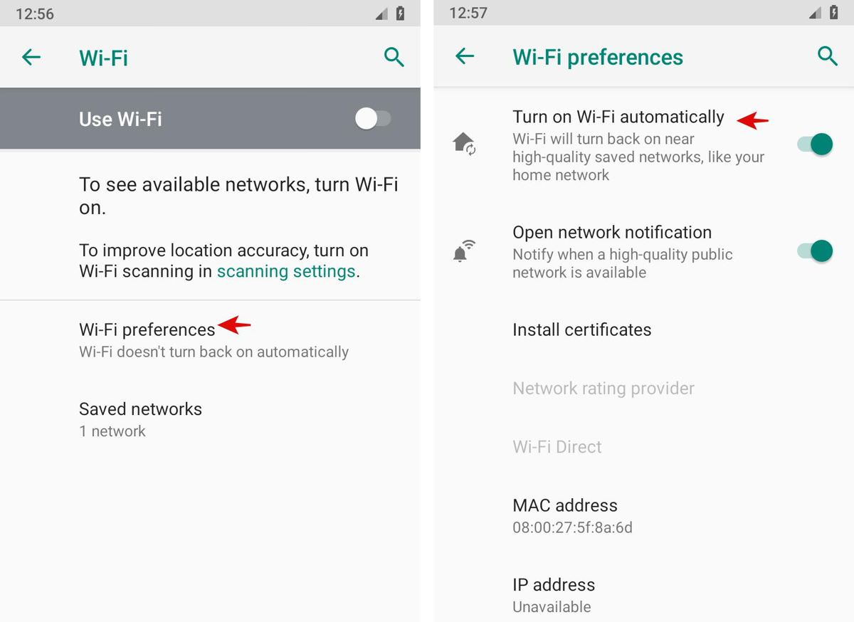 Configure Wi-Fi preferences in Android