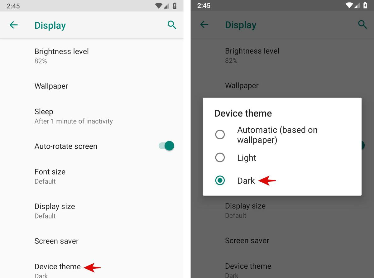 Enable the dark theme in Android Pie