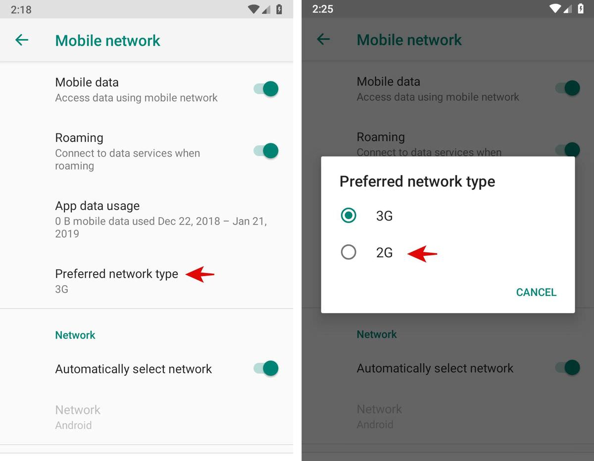 Select the network type in Android
