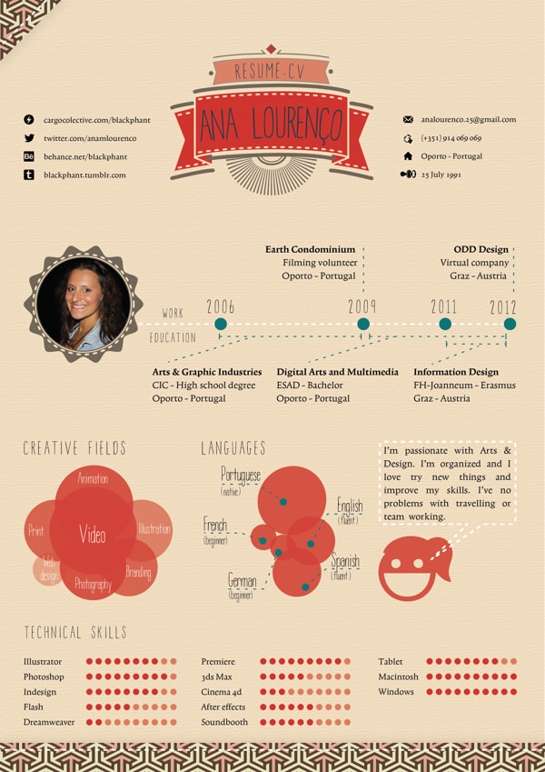 Best Creative Resumes Captivating 50 Awesome Resume Designs That Will Bag The Job  Hongkiat
